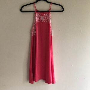 Pink Dress with White Lace Design - Impeccable Pig